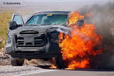Erlkönig Ford Super Duty fängt Feuer