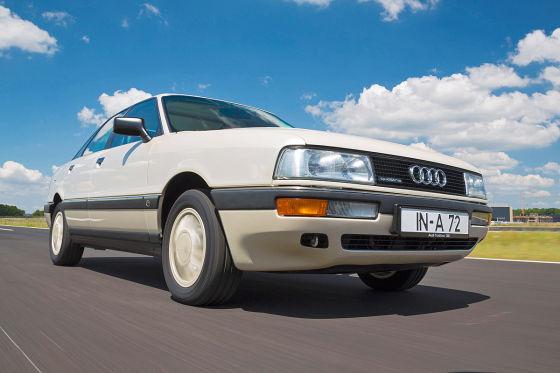 Audi 90 2.3 E weiß Frontansicht