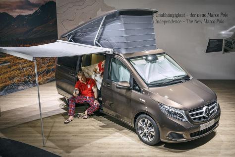 mercedes marco polo auf dem caravan salon 2014 schlafprobe. Black Bedroom Furniture Sets. Home Design Ideas
