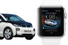 Apple-Uhr wei�, wo das Auto steht