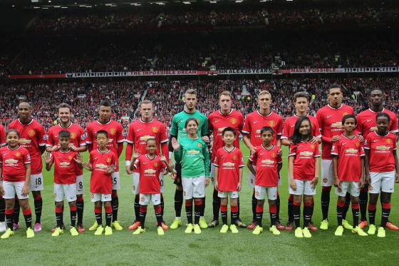 Die Mannschaft von Manchester United im Trikot mit Chevrolet-Logo