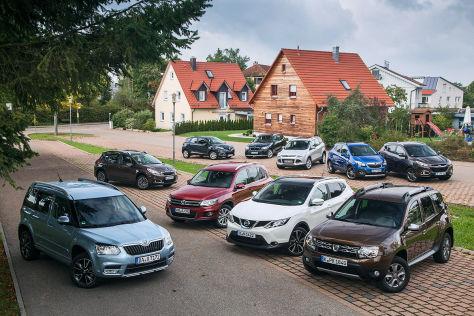 Skoda Yeti, Peugeot 2008, VW Tiguan, Renault Captur, Nissan Qashqai, BMW X1, Ford Kuga, Dacia Duster, Opel Mokka, Hyundai ix35