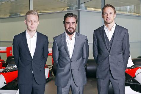 Kevin Magnussen, Fernado Alonso und Jenson Button (v.l.)