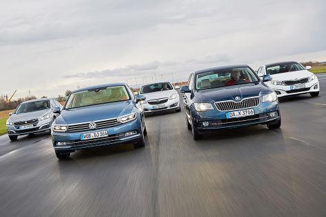 Fünf Mittelklasse-Limousinen im Test