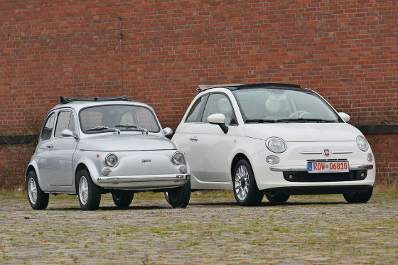 Vater und Sohn: Fiat Nuova 500 und Fiat 500