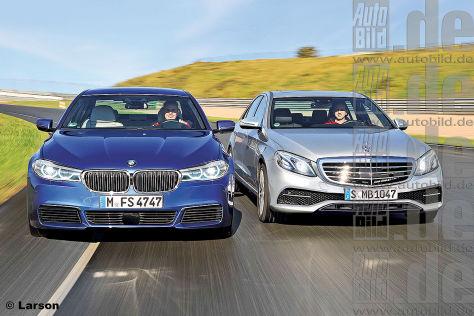 BMW 5er und Mercedes E-Klasse Illustrationen