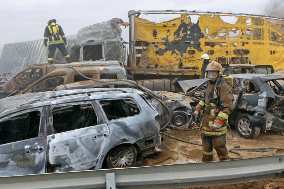 Sand-Unfall auf der A19 (April 2011)