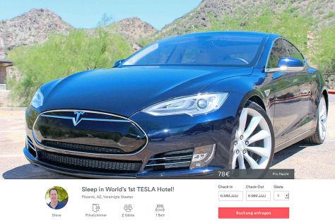 Tesla Model S als Hotelzimmer