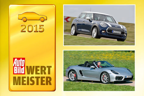 Wertmeister 2015, Mini Cooper, Porsche Boxster