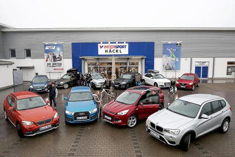 BMW X1 xDrive25d, VW Tiguan 2.0 TDI, Mercedes GLK 250 BlueTec, Audi Q3 2.0 TDI, Mercedes ML 350 BlueTec, BMW X5 xDrive35i, Ford Kuga 2.0 TDCi, Audi Q5 2.0 TDI, Mazda CX-5 2.2, BMW X3 xDrive20i