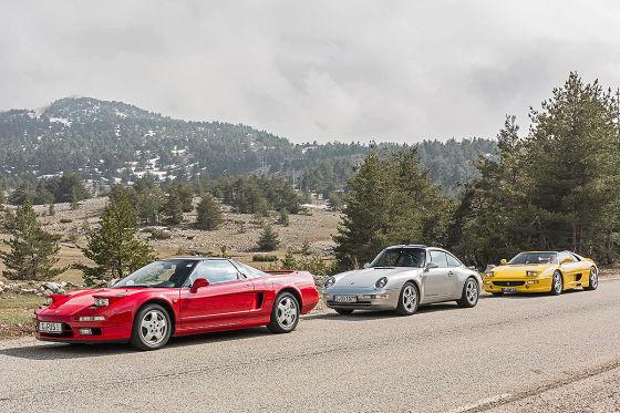 Honda NSX, Porsche 911 Targa, Ferrari F355 GTS