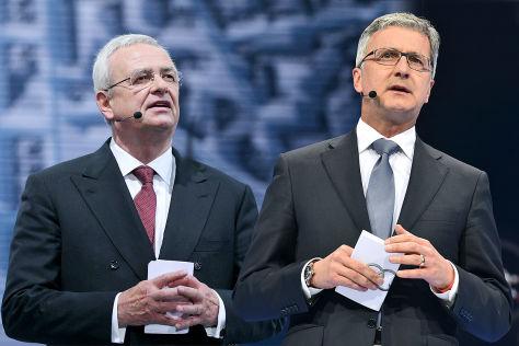 VW-Chef Martin Winterkorn (l.) und Audi-Chef Rupert Stadler