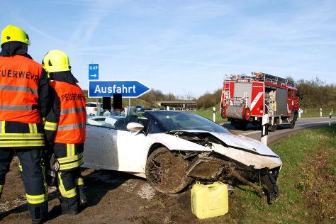 Lamborghini Gallardo Spyder  Crash auf der A52