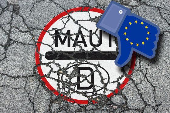 Symbolbild zur drohenden Ablehnung der in Deutschland beschlossenen Einfuehrung der Pkw Maut und Infrastrukturabgabe durch die EU Europaeische n Union Verkehrsschild Mautstrasse auf einer maroden und