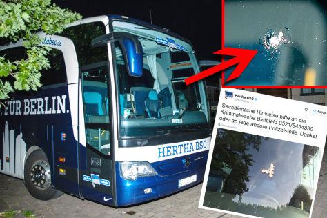 Schüsse auf Hertha-Bus