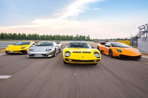 Vier Lamborghini SV im Vergleich