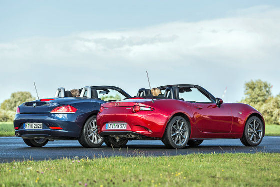 cabrio spa mazda mx 5 im test gegen bmw z4. Black Bedroom Furniture Sets. Home Design Ideas