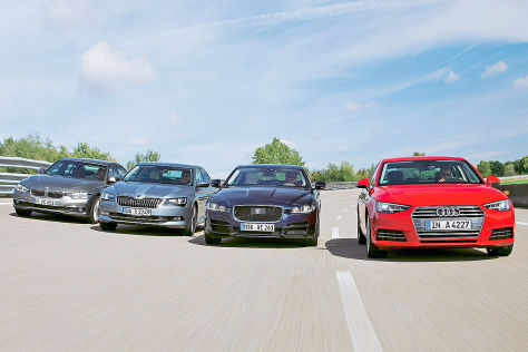 Audi A4 BMW 3er Jaguar XE Skoda Superb