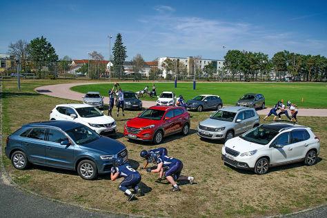 Audi Q3, Nissan Qashqai, Hyundai Tucson, VW Tiguan, Peugeot 2008, Mercedes GLA, Skoda Yeti, Opel Mokka, Renault Captur, Ford Kuga