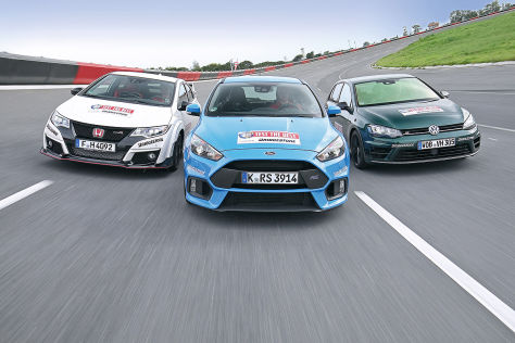 Honda Civic Type R Ford Focus RS VW Golf R: Test
