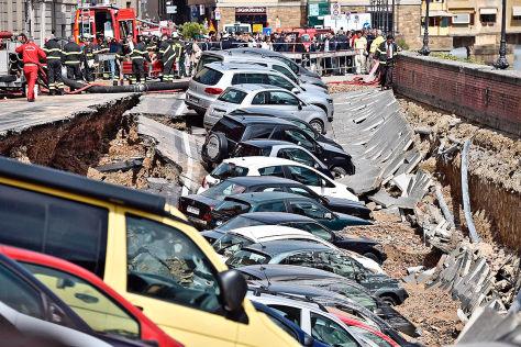 Parkplatz abgesackt