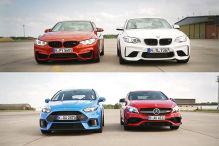 AMG A 45 vs Focus RS vs BMW M4 & M2
