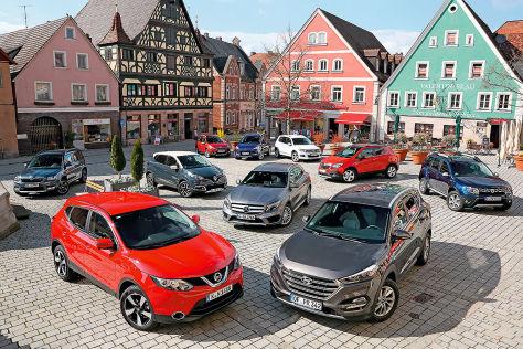 Ford Kuga, Mercedes GLA, Peugeot 2008, Dacia Duster, Hyundai Tucson, Skoda Yeti, Renault Captur, Opel Mokka, Nissan Qashqai , VW Tiguan