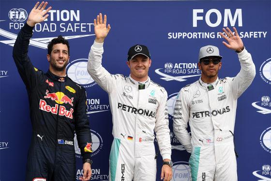 Ricciardo, Rosberg, Hamilton