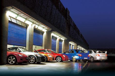 Mazda RX-8, Honda S2000, Nissan 350Z, Toyota Celica TS, Subaru Impreza WRX STi, Mitsubishi Lancer Evo VII