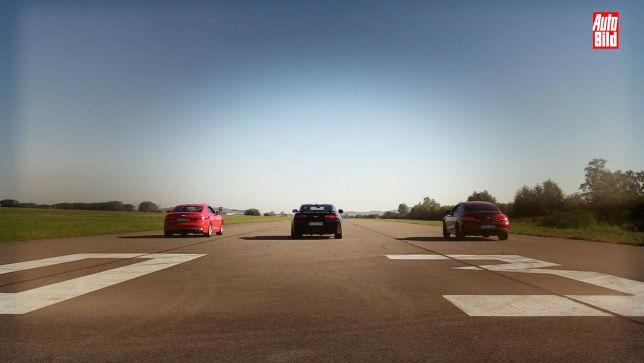 Drag Race Camaro vs C 43 Coupé vs S5 Coupé