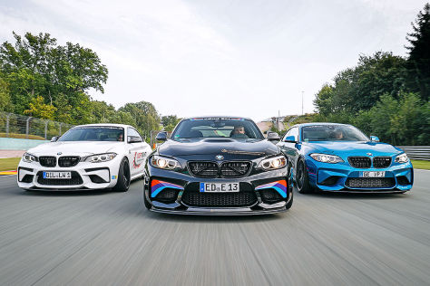 Drei getunte BMW M2