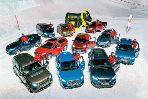Elf Autos im Wintertest