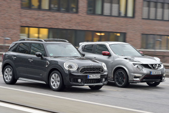 Rasende suvs nissan juke nismo vs mini countryman cooper for Nissan juke dauertest