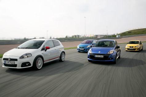 Renault Clio RS, Seat Ibiza Cupra, Opel Corsa OPC, Fiat Grande Punto Abarth
