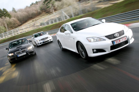 BMW M3 Limousine, Mercedes C 63 AMG, Lexus IS F