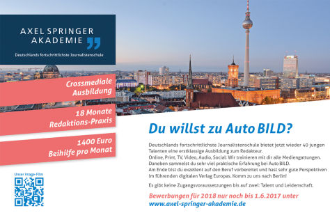 Axel Springer Akademie: Jetzt bewerben