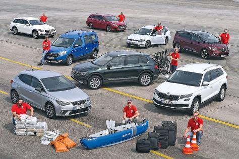 Acht Autos im Beladungstest
