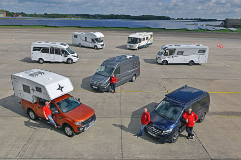 Nordstar Track 200 auf Ford Ranger TDCI 3.2, Hobby Optima De Luxe V 60 GF, LMC Breezer A 714 G, VW Crafter, Schwabenmobil Florida Multitalent, Vario Star 740, Mercedes Marco Polo