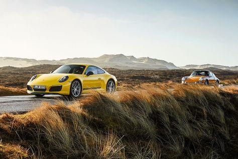 Porsche-911-T-trifft-seinen-Urahnen-Test-Insel-im-Sturm-Zwei-911-T-auf-Sylt