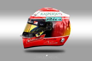 Schumis und Sennas Helme im 2018er Look