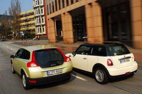 Test Mini Cooper D gegen Volvo C30 1.6D