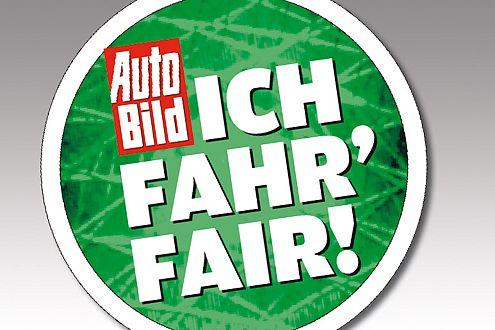 """Sticker """"Ich fahr' fair"""": aufkleben, losfahren, faire Erlebnisse sammeln."""