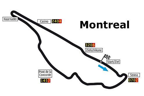 Der GP-Kurs von Kanada. Hier sind gute Bremsen und Topspeed gefragt.