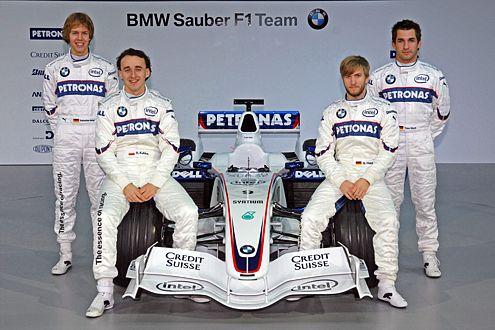 Das BMW-Team: Glock (D), Heidfeld (D), Vettel (D), Kubica (POL).