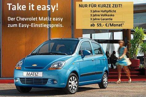 Chevrolet Matiz ab 59 Euro/Monat