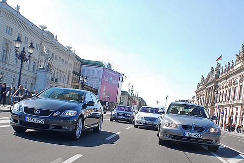 Diesel oder Hybrid? Audi A6 3.0 TDI, BMW 530d und Mercedes E 320 CDI streiten mit dem japanischen Lexus GS 450h um das richtige Konzept.