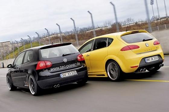 Kampf dem CO2: Tec-Power und JE Design halten mit den Dieselflitzern VW Golf GT und Seat Leon FR den grünen Daumen nach oben.