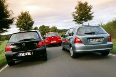 Vergleich Honda Civic, Peugeot 307 und VW Golf