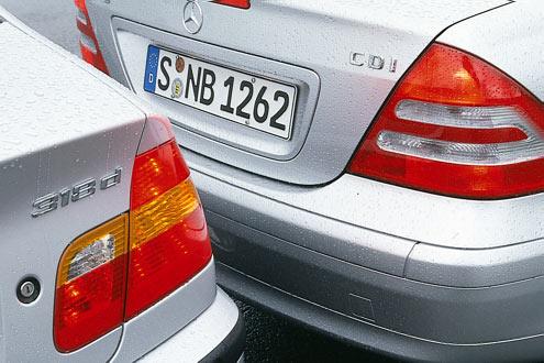 Die neue Sparsamkeit: kleine Diesel im Nobel-Auto. BMW 318d für 25.150 Euro und Mercedes C 200 CDI Classic für 27376 Euro.