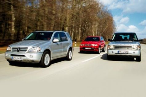 BMW X5 4.6iS, MB ML 55 AMG, Range Rover V8